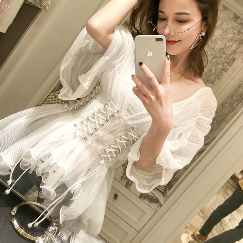 Back To Search Resultswomen's Clothing Dynamic Fairy Lotus Lace Chiffon Shirts V-neck Pleated Mesh Ruffles Blouses Lace Up Backless Gauze Tops With Transparent Girdle