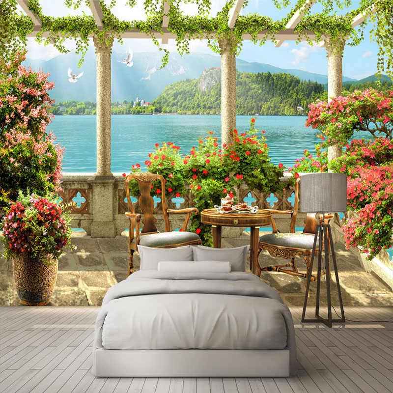 Fondo fotográfico personalizado 3D estéreo balcón lago paisaje mural natural Sala restaurante decoración De la pared De fondo Papel De pared 3D