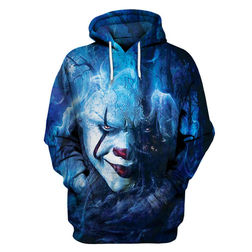 Autumn Winter Thin Stylish Clown 3d  Stephen King's Sweatshirts Men/Women Hoodies With Hat Printed It Hooded Hoody Tops US SIZE