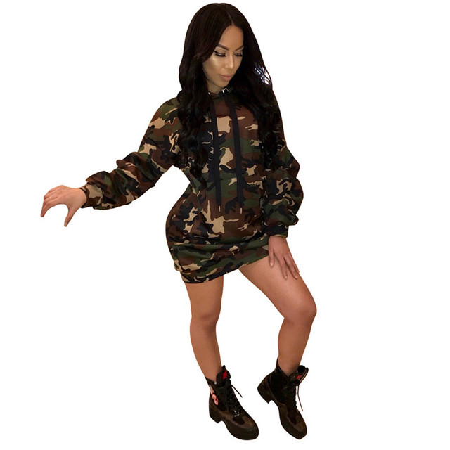 Camouflage Hooded Sweatshirt Dress Women Long Sleeve Short Dress Pullover  Pockets Front Casual Day Dresses Ladyes T Shirt Dress 803ca53508