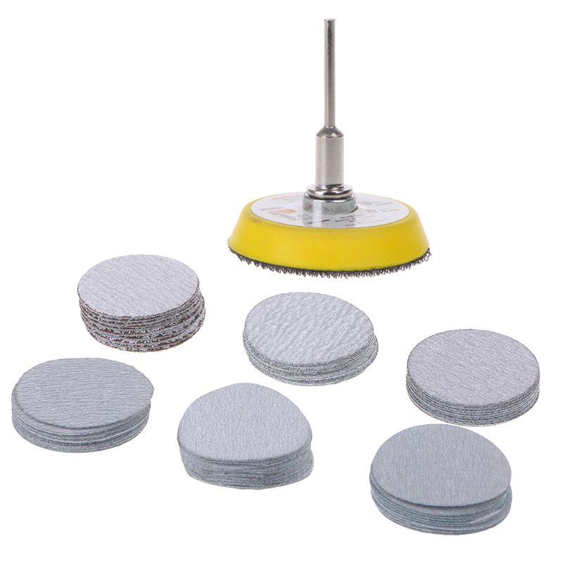 61pcsset Abrasive Tool Kit 80-600 Mixed Grit Disc Sandpaper With Polish Pad Plate