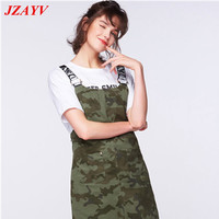 JZAYV Loose Personality Camouflage Suspenders Strap Dress Straight Leg Model Dress ArmyGreen Street Casual Style Polyester