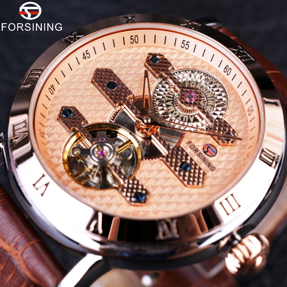Forsining 2016 Tourbillion Obscure Designer Rose Golden Elegant Retro Designer Clock Mens Watch Top Brand Luxury Automatic Watch 02 obscure brown