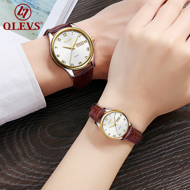 OLEVS Fashion Couple Watches Business Mens Womens Lovers Quartz Date Wrist Watch Relogio Masculino Feminino Erkek Kol Saati New