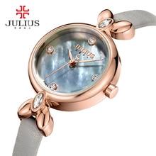 Nueva julius dama reloj de las mujeres elegantes diamantes de imitación nácar horas moda de lujo vestido de pulsera de cuero de regalo chica fiestera caja