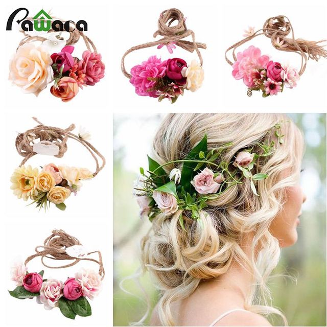 New Diy Bridal Headdress Wreath Leaves Flowers Spring Sweet Wedding Photography Female Flower Headband Accessories