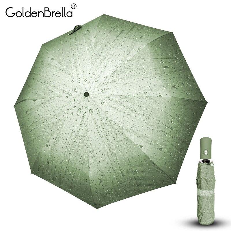 Kreative Regentropfen Muster Voll-Automatische Regenschirm Regen Frauen Männer 3 Folding Langlebige Starke Regenschirme Frauen Kinder Regnerischen Sunny