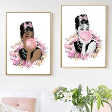 Pink Peony Flower Audrey Hepburn Balloon Wall Art Canvas Painting Nordic Posters And Prints Pictures For Living Room Decor