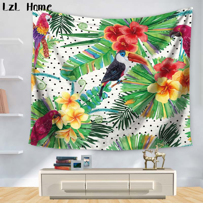 LzL Home On Sales! 3D Polyester Tropical Birds Flowers Bedroom Wall Art Tapestry Home Hanging Wall Decor Livingroom Blanket Dorm