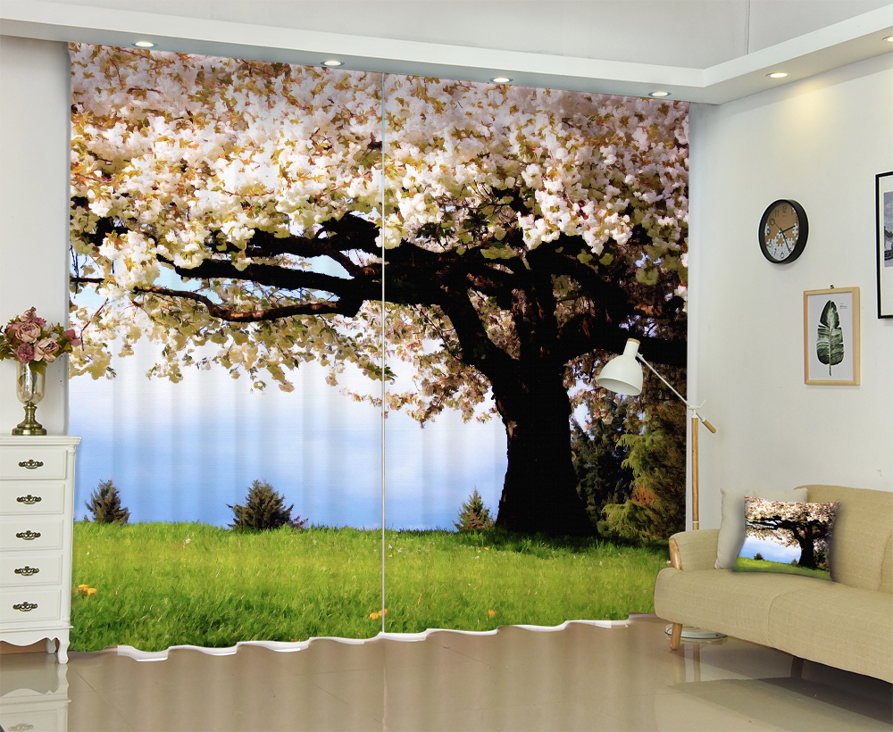 Floral Tree print Luxury 3D Window Blackout Curtains For Living room Bed room Drape Office Hotel