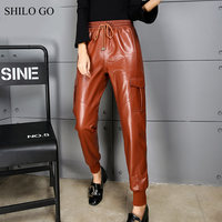 SHILO GO Leather Pants Womens Autumn Fashion sheepskin genuine leather Pants stretch adjustable high waist loose harem pants