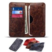 Para el iPhone 7 6 s 6 más Carcasas 5.5 pulgadas universal Cuero auténtico fundas Wallet tarjeta de teléfono caso para Samsung s7 S6 borde coque