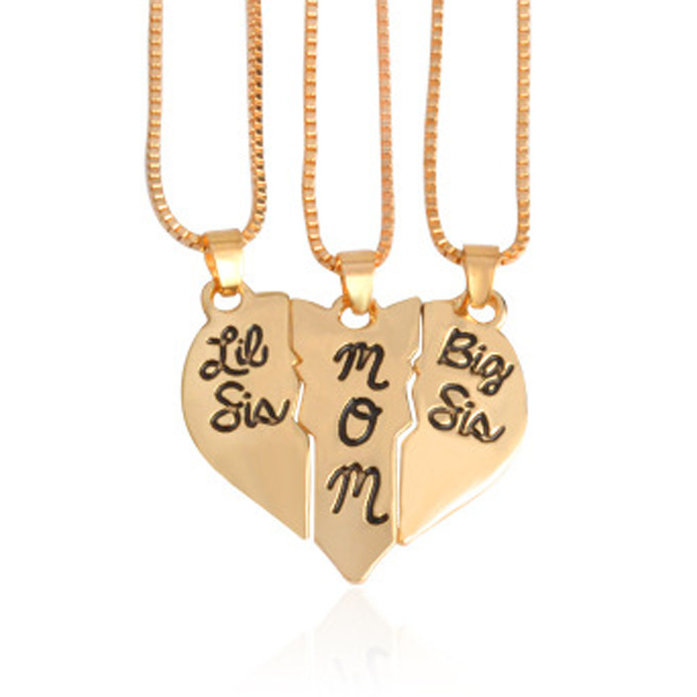 Hand Stamped little sis mom big sis 3pcs Broken Heart Shaped Pendant Necklace Family Jewelry Gift Mom Mother Day