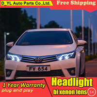 Car Styling Headlights for Corolla 2014 2016 LED Headlight for Corolla Head Lamp LED Daytime Running Light LED DRL Bi Xenon HID