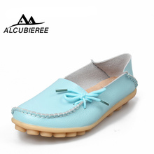 New Women Real Leather Shoes Moccasins Mother Loafers Soft L