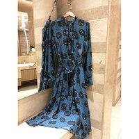 2019 высокое качество, новые весна silk печать Созвездие женские ретро платье с длинными рукавами