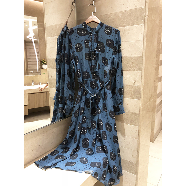 2019 high quality new spring silk print constellation women's retro long-sleeved dress