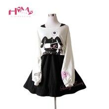 Черное платье с кроликом из комиксов костюм из 2 предметов для девочек-подростков милое Хлопковое платье короткое платье с длинными рукавами с милым кроликом в японском стиле Лолиты