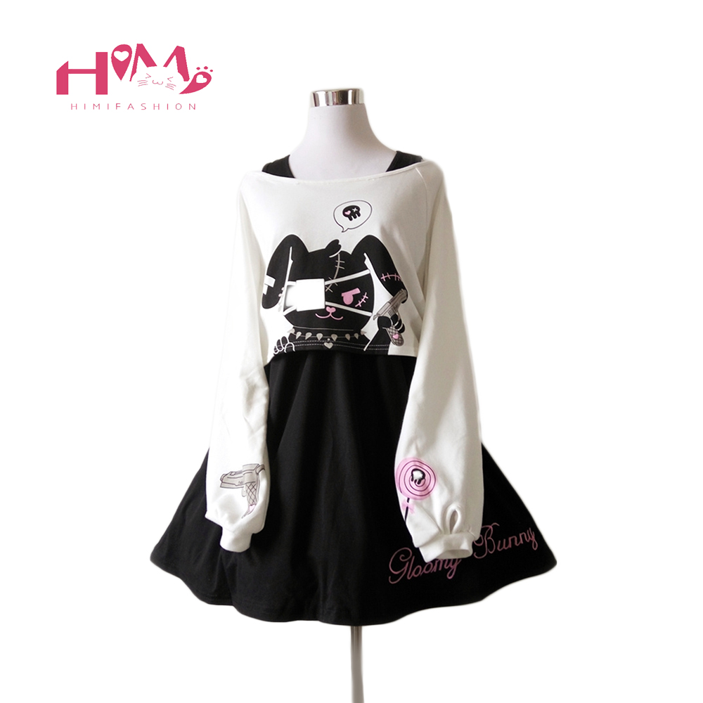 Black Comic Rabbit Dress Teens Girls 2 Pcs Suit Sweet Cotton Dress Short Cute Bunny Print Long Sleeves Japanese Lolita Dress -in Dresses from Women's Clothing