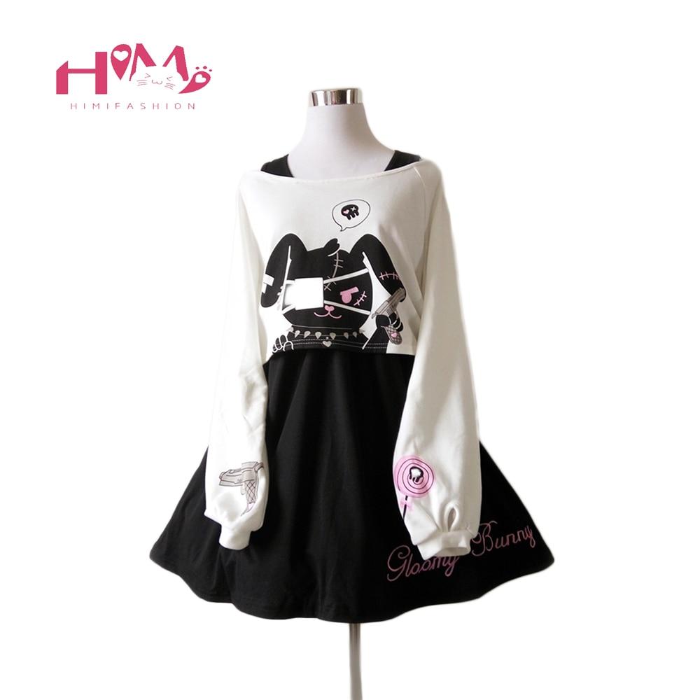 Black Comic Rabbit Dress Teens Girls 2 Pcs Suit Sweet Kawaii Short Dress Cute Bunny Print Long Sleeve Japanese Lolita Dress 2020