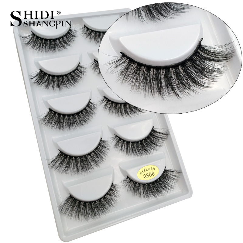 5 pairs natural false eyelashes long 3d mink eyelashes eyelash extension winged messy 3d mink lashes black makeup eye lashes