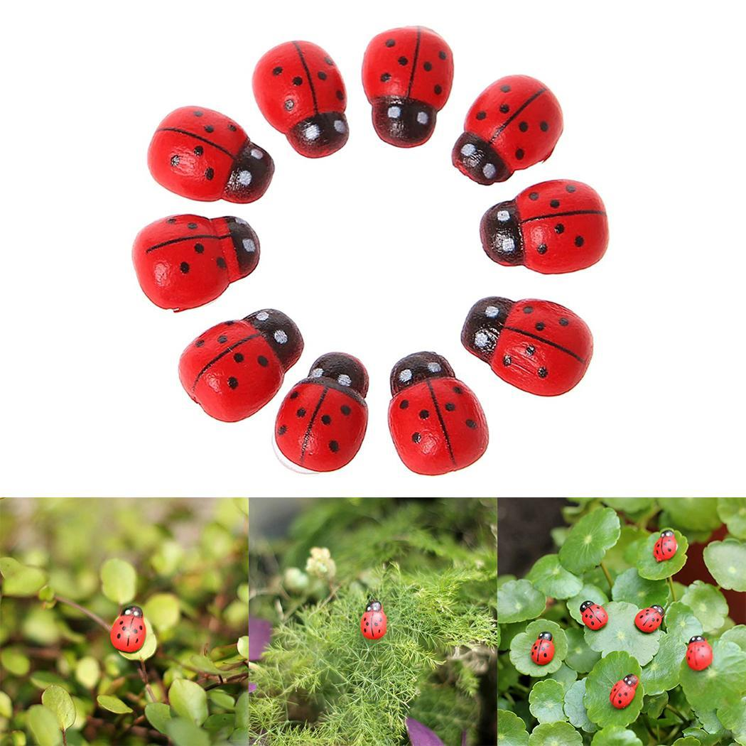 Garden Cute Accessories Decoration Mini Red Shape Ladybug Animal DIY Home Print 1