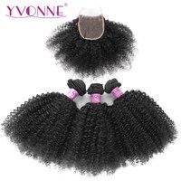 Yvonne афро вьющиеся Реми пучки волос плетение с закрытием естественный Цвет человеческих волос 3 Связки с закрытием кружева 4x4