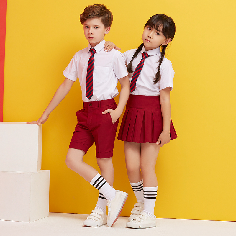 2018 winter children cute cotton korean japanese student school uniform for girls boys kid collar shirt top pleated skirt shorts