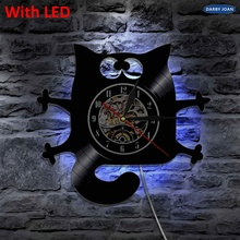 Lámpara de pared de vinilo con diseño de gato encantador, hecho a mano vintage Reloj de pared, reloj creativo, regalo para decoración del hogar