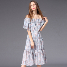Dresses Women Elegant Style Panelled Design Lace-up Slash Neck Ruffles Sleeves Shesth Dress Party Ladies 2018 New