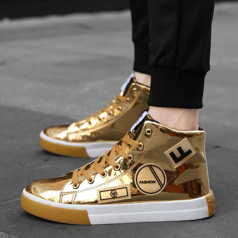 Men Shoes Fashiona Patent Leather Sneakers High Tops Gold Silver Hip Hop Boots Glossy Lighted Brand Designer Shoes Flats Size 46