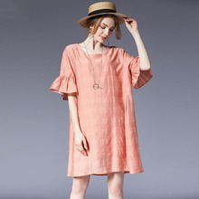 2019 Casual four seasons high quality Women Floral Chiffon Dresses O-Neck Cotton Big yards Loose Office Ladies Long Shirt Dress