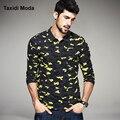 Otoño para hombre camisas de polo de la manera de camuflaje impreso famoso marcas de ropa de hombre de manga larga slim fit ropa tes de las tapas