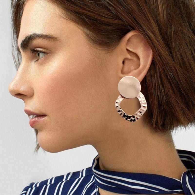 Statement 2019 New Hot Sale Vintage Small Circle Earrings For Women Gold Color Round Dangle Earrings Simple Earrings
