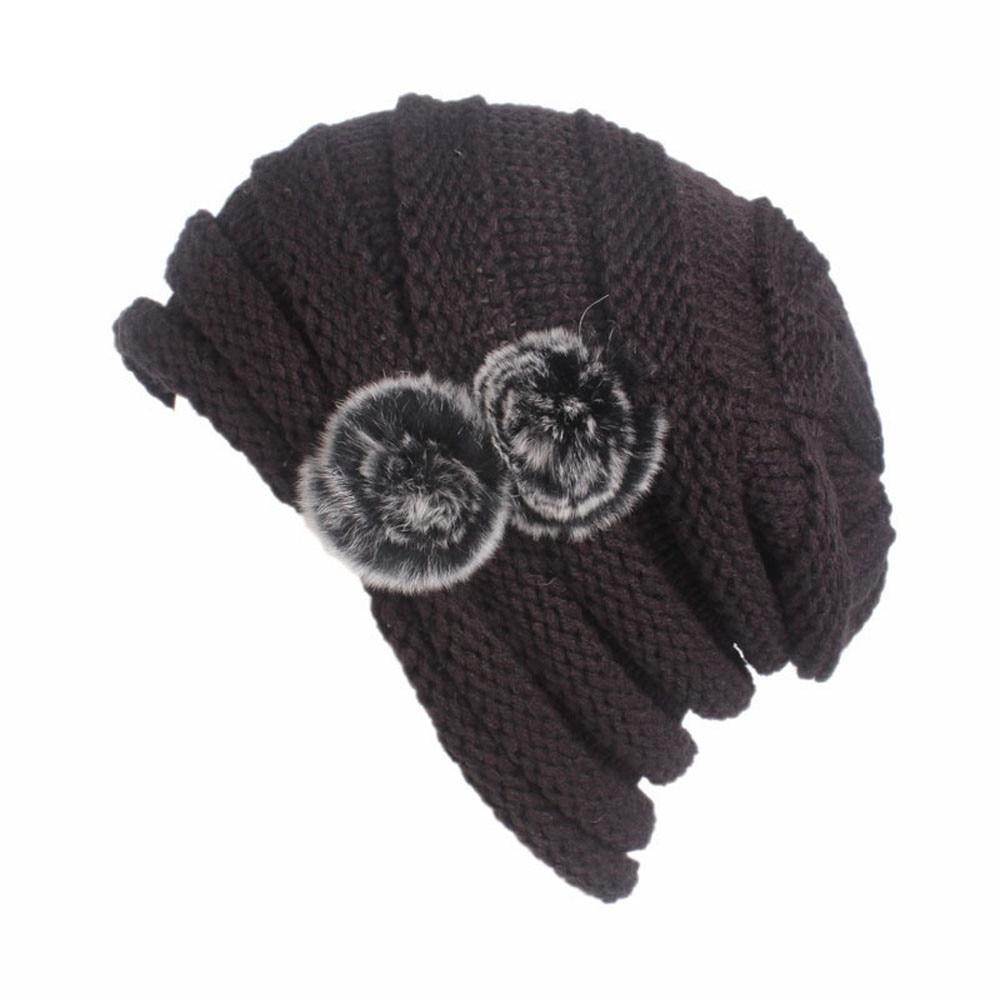 73d07d842 Women Winter Caps Knitted Wool Cotton Hat 2017 Ladies Autumn Knitting  Turban Hat Cap Thick female bonnet