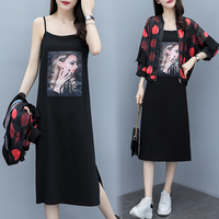 Plus Size Large 3XL 4XL 5XL 2 Piece Dress Set Women Dresses Coat Strapless Print Black Co ord Set 2019 Summer Festival Clothing