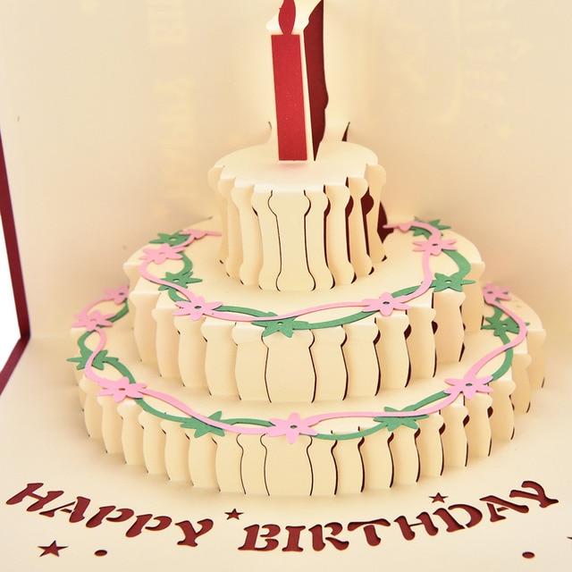 Birthday cake candle design greeting card 3d handcrafted origami birthday cake candle design greeting card 3d handcrafted origami envelope invitation card kirigami anniversary pop up stopboris Gallery