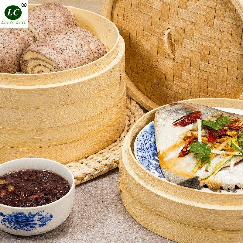 Bambou Alimentaire Vapeur Couche Double Chaudière 27 cm 3 niveaux avec 1 couverture Alimentaire Vapeur
