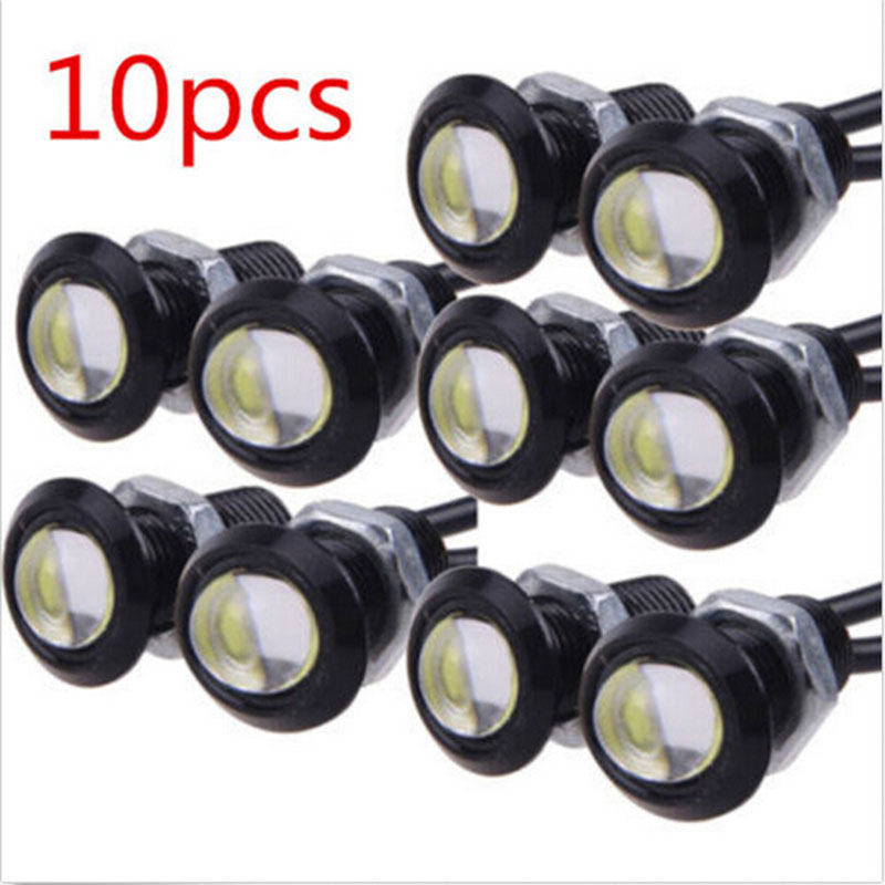 10 X 9W 18mm 23mm 12V 24V White LED Eagle Eye Light Car Fog DRL Daytime Reverse Backup Parking Signal Yellow Color Auto 2017 new arrival a pair 10w pure white 5630 3 smd led eagle eye lamp car back up daytime running fog light bulb 120lumen 18mm dc12v