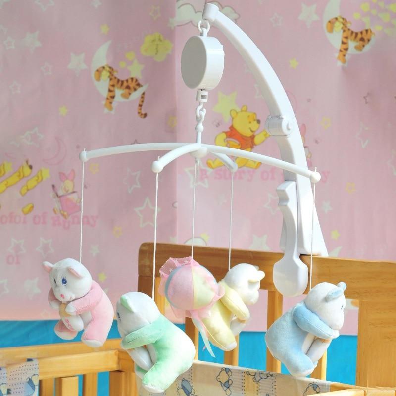 White Rattles Bracket Set Newborn Baby Toy Crib Mobile Clamp Bed