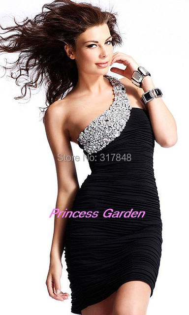 2aba2d3d41b Beautiful vivid black one shoulder scalloped neckline beading ruched sheath  wrapped lady tube chiffon cocktail dresses LD65