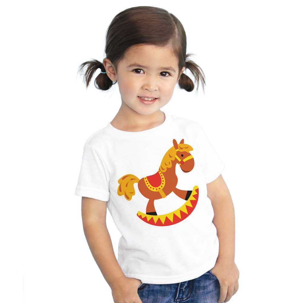 100% cotton cartoon Trojan horse print t-shirt for kids casual clothes horse Pattern Children Girls Clothes