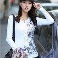 Estilo europeu das mulheres slim longo-manga comprida T-Shirt
