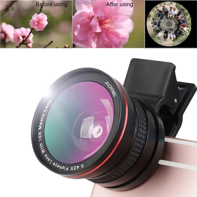 0.42x super grande lente da câmera do telefone móvel com clip para xiaomi huawei meizu iphone 7 6 s 6 5S samsung galaxy s6 s7 smartphones