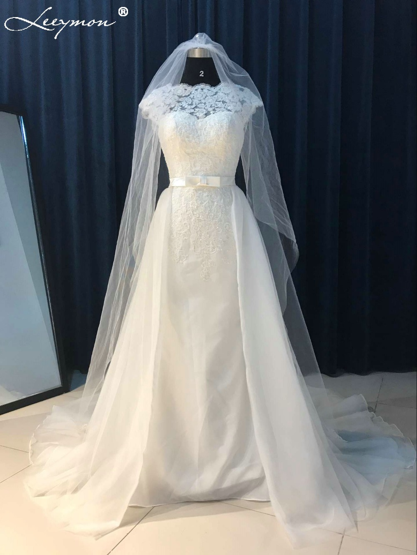 Vintage White Lace Backless Detachable Train Mermaid Wedding Dress
