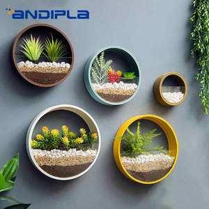 Креативная настенная ваза, подвесные вазы Искусственные цветы в корзинке, держатель железного искусства, круглый горшок для растений для у...