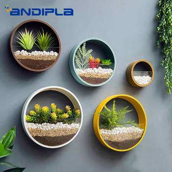 Creative Wall Vase Hanging Vases Artificial Flower Basket Holder Iron Art Circular Plant Pot for Household Decoration Adornment