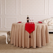 Circle Interlocking Rectangle Small Polyester Jacquard Hotel Tablecloths Wedding Table Round Cloth Mark Place
