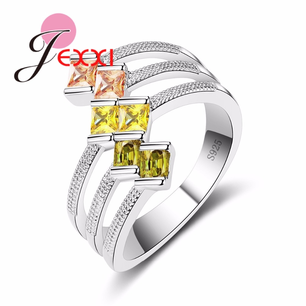 JEXXI Big Size 925 Sterling Silver Ring Paved AAA Clear Cubic Zirconia High Polished Bly Hollow Ring för Women Party