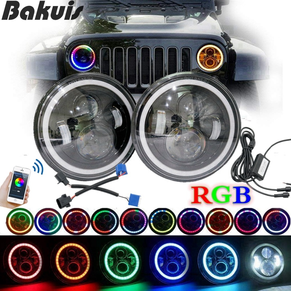 For Lada 4x4 urban Niva 7LED Headlights RGB Multifunction Halo Angle Eye For Jeep Wrangler JK Hummer Headlamp Driving Light DRL